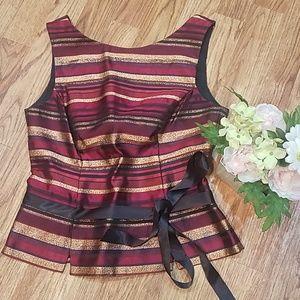 Structured Winter Blouse Stripe Sparkle Waist Tie